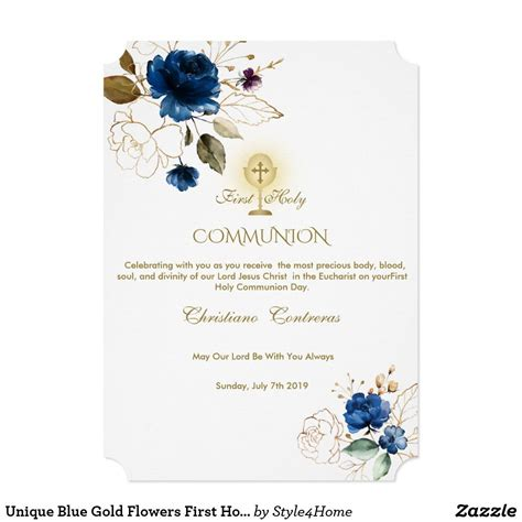 Unique Blue Gold Flowers First Holy Communion Invitation