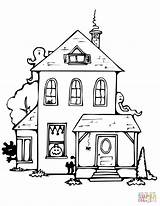 Haunted Coloring Pages Halloween Drawing Printable Houses Spooky Easy Template Getdrawings Roof Flat Mobile Delightful Templates Entitlementtrap Supercoloring Categories sketch template