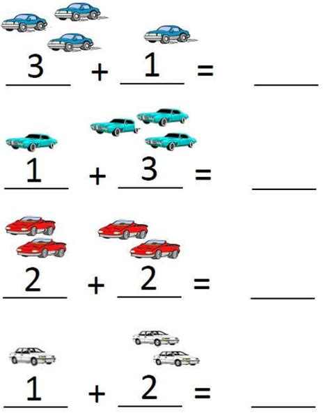 pre k addition worksheets adding with pictures up to 5 pre kindergarten math worksheets