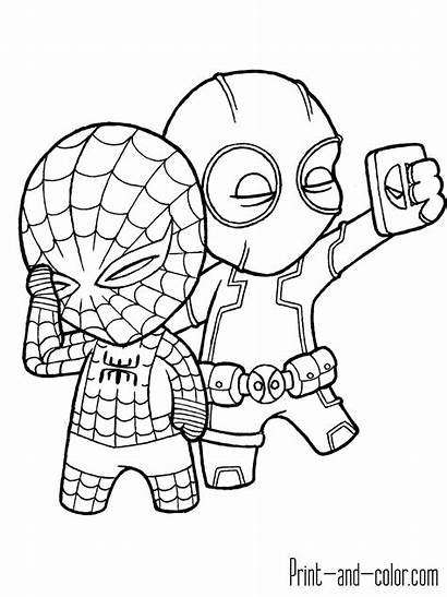 Coloring Pages Spiderman Deadpool Spider Clipart