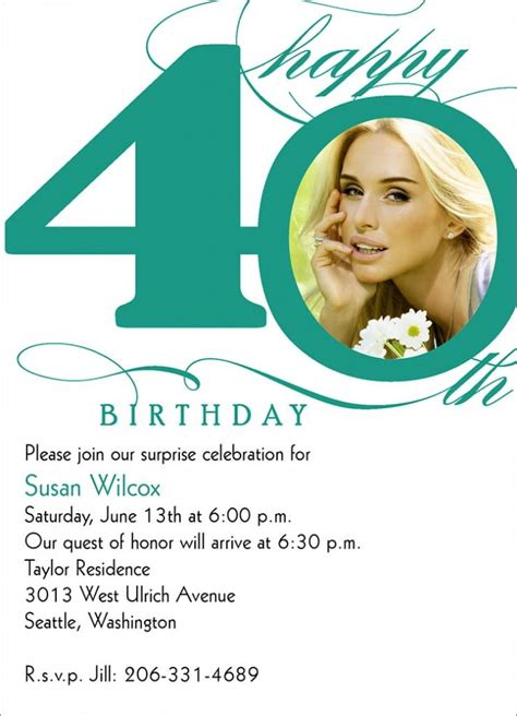 40th Birthday Invitation Wording Bagvania FREE Printable