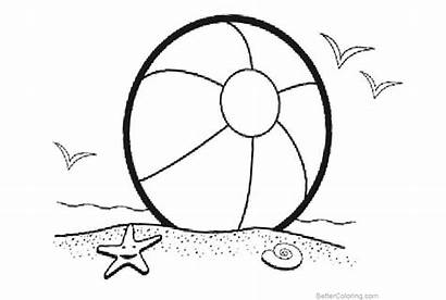 Coloring Ball Beach Pages Starfish Printable Birds