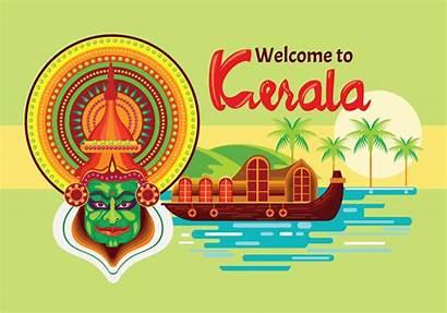 Vector Kerala India Kathakali Houseboats Clipart Graphics
