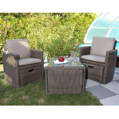Salon de jardin ru00e9sine Cupido brun  2 fauteuils + table 1 carton  73 x 82 x 128.5 cm - Gamm Vert
