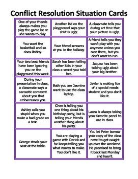 conflict resolution situation cards conflict resolution