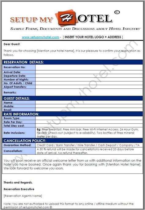 hotel booking confirmation letter sample sample hotel