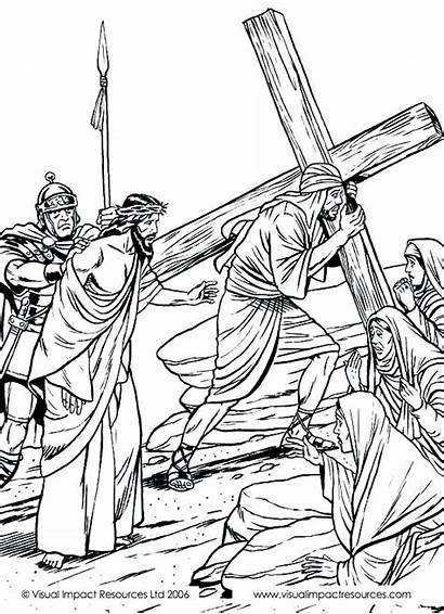 Jesus Cross Coloring Pages Bible Clipart Crucifixion