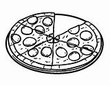 Pizza Pepperoni Coloring Pages Pasta Fraction Template Coloringcrew Colorear Sketch Printable Fast sketch template