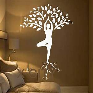 Tree wall decals art gymnast decal yoga meditation vinyl for Wall decals for home
