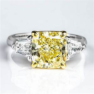 cushion 3 stone fancy yellow diamond engagement ring 376 With yellow diamond wedding ring