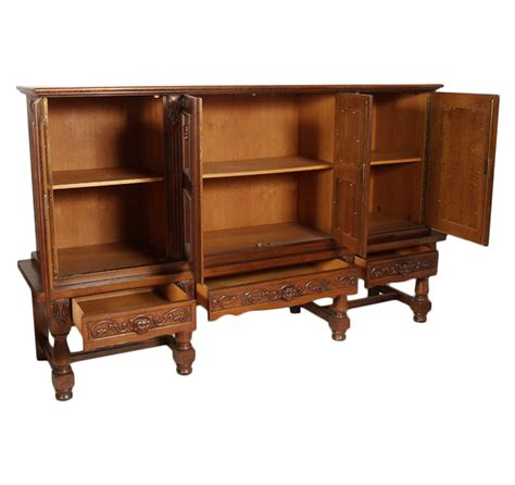 Libreria Spagnola by 1950s Carved Oak Sideboard Cabinet Bookcase