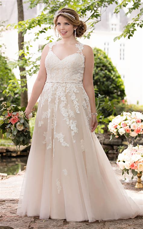 plus size wedding dress with lace illusion back stella york