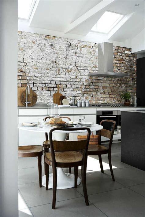 brick cuisine papier peint brique pour un salon de style industriel