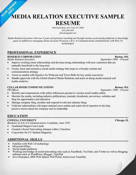 Cv Specimen by Media Relation Executive Sle Resume Resumecompanion