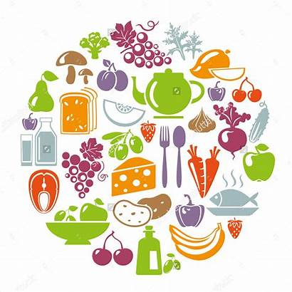 Healthy Illustration Vector Circle Icons Vegetables Concept
