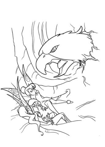 Vidia And Tinkerbell Are Attacked By Hawk coloring page