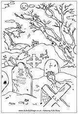 Coloring Graveyard Halloween Colouring Spooky Cemetery Printable Colour Drawings Adult Drawing Dibujos Designlooter Dibujo Witch Colorear Crafts Embroidery Animals sketch template