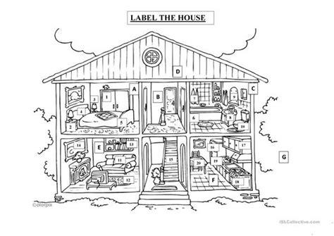 label  house worksheet  esl printable worksheets