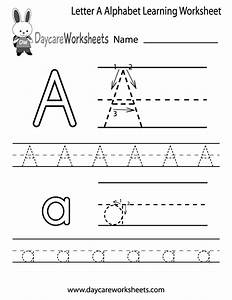 free letter a alphabet learning worksheet for preschool With letter workbook