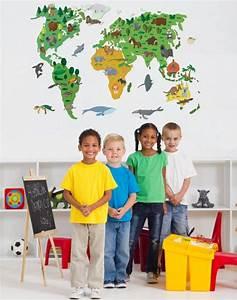 Aufkleber Für Kinder : wand aufkleber weltkarte kinder walldesign56 ~ Kayakingforconservation.com Haus und Dekorationen