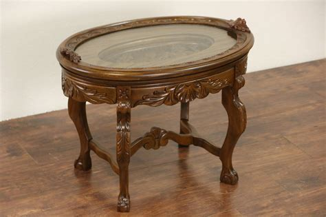 Carved 1930's Vintage Coffee Table, Glass Tray Top Ebay