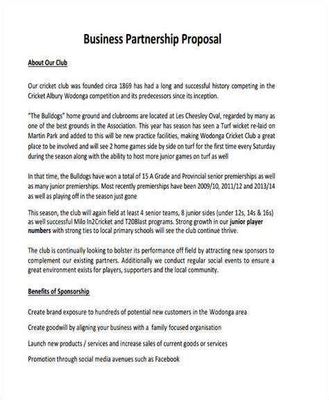 partnership proposal examples samples  word