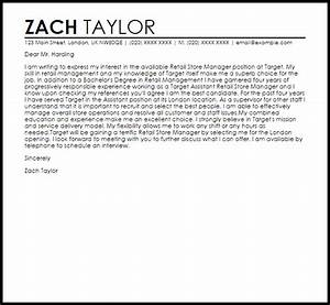 retail store manager cover letter sample livecareer With cover letter for target store