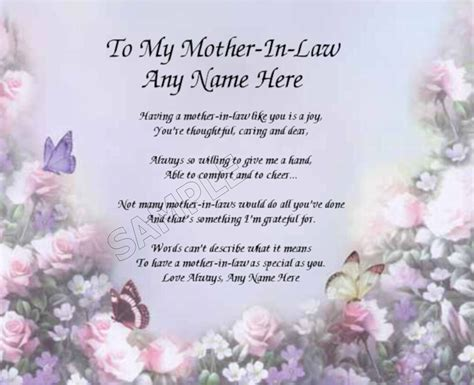 mother  law personalized art poem memory birthday