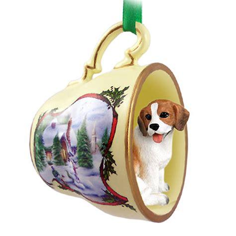 beagle dog christmas holiday teacup ornament figurine