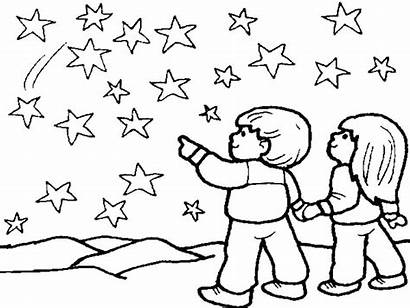 Sky Coloring Night Pages Sun Drawing Fireworks