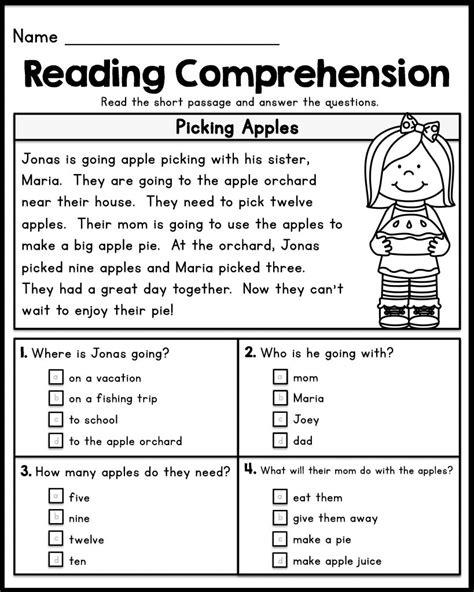 st grade reading comprehension worksheets