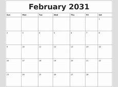 February 2031 Print Blank Calendar