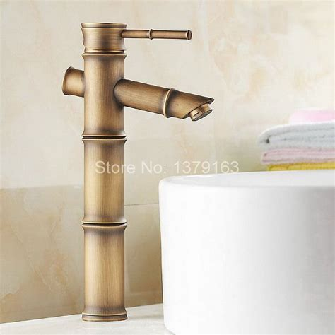 bathroom sink lever taps classic single lever handle brass bamboo shape bathroom