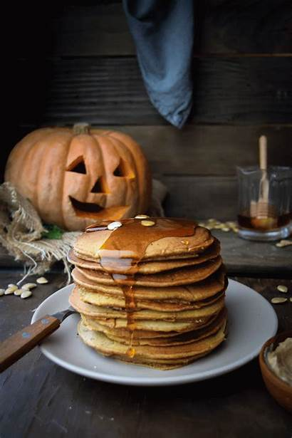 Pancakes Pumpkin Maple Honey Butter Sweet Halloween