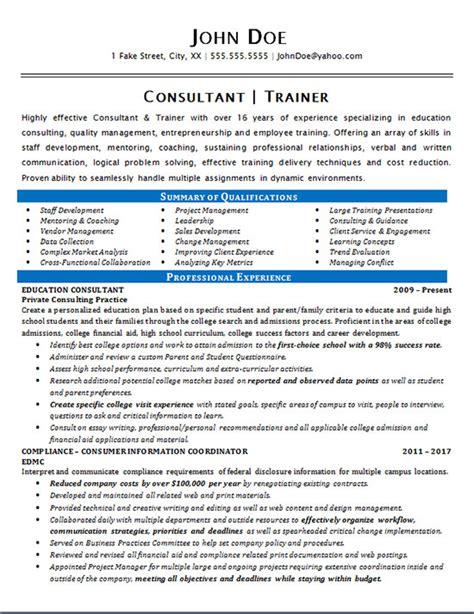 consultant trainer resume  education staff development