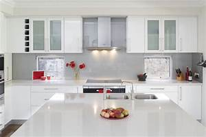 glossy white kitchen design trend digsdigs With kitchen colors with white cabinets with how to make stickers to sell