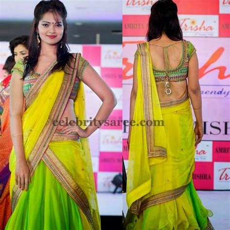 Parrot Green Half Saree By Trisha Saree Blouse Patterns