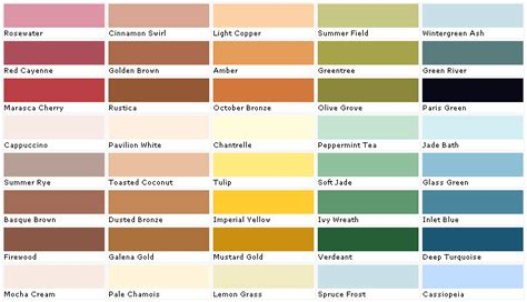 easy living paint color chart creative home designer