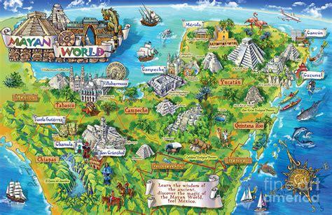 yucatan map illustration painting  maria rabinky