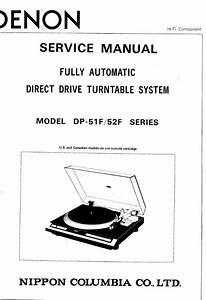Denon Dp 51f 52f Turntable System Service Manual Free