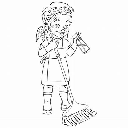 Cleaning Cartoon Coloring Lady Cleaner Housekeeping Illustrations