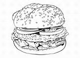 Hamburger Coloring Clipart Outline Vector Illustration Burger Dog Drawing Silhouette Cliparts Adult Library Hamburgers Clip Depositphotos Steak Contour Drawings Drawn sketch template