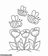 Coloring Bees Spring Flowers Bee Coming Coloringpages Flower Towards Printable sketch template