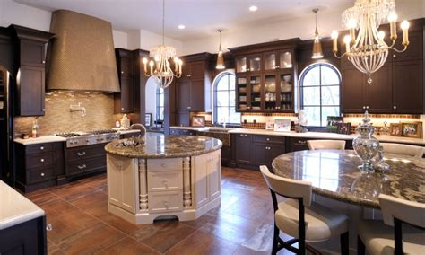 Center Islands In Kitchens - mullet cabinet elegant kitchen with dual round islands