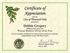 thousand oaks certificate of appreciation woman business With recognition of service certificate template