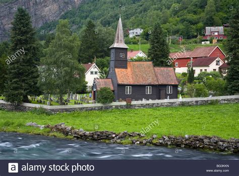 Flam Church Dating From 1670 And Flamsdalen Valley River