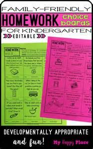 Kindergarten Homework Choice Board