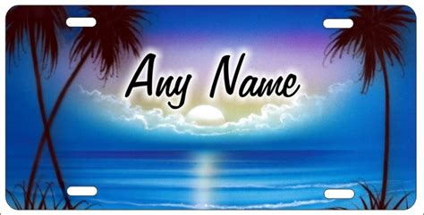 tropical beach personalized novelty license plate airbrush