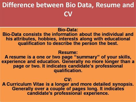what is the difference between bio data cv profile and
