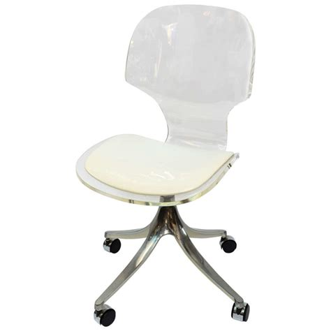 armless swivel chair made of clear acrylic without armrest